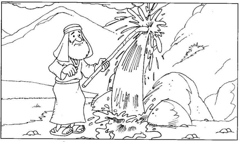 Moses water from rock Sunday School Pinterest Rock, Sunday - best of coloring page jesus in the desert