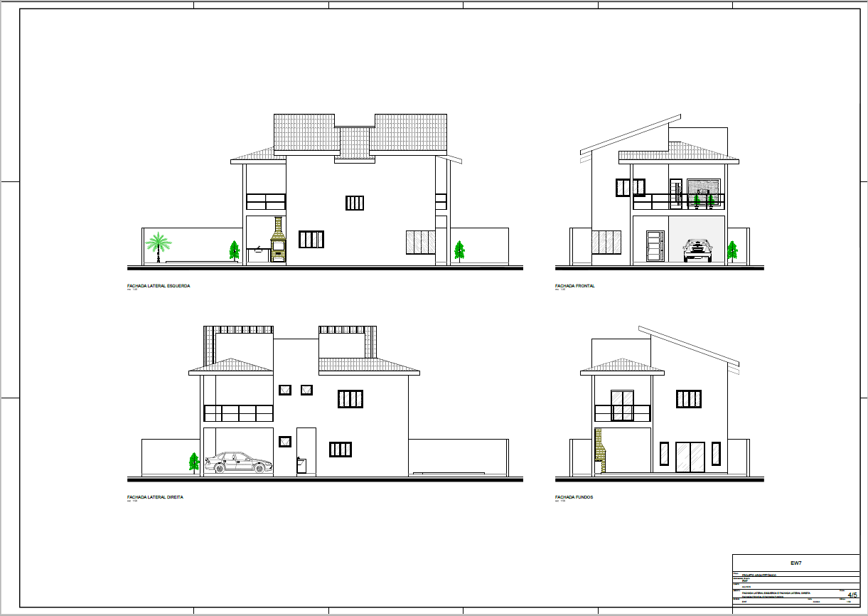 Todas as fachadas do sobrado house architecture for Casa moderna autocad