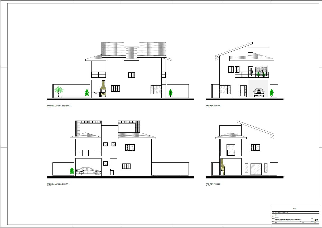 Todas as fachadas do sobrado house architecture for Casa moderna autocad