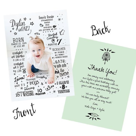 Babys first birthday invitationfun factbaby infographicdouble babys first birthday invitationfun factbaby infographicdouble sided invitationwall filmwisefo Images
