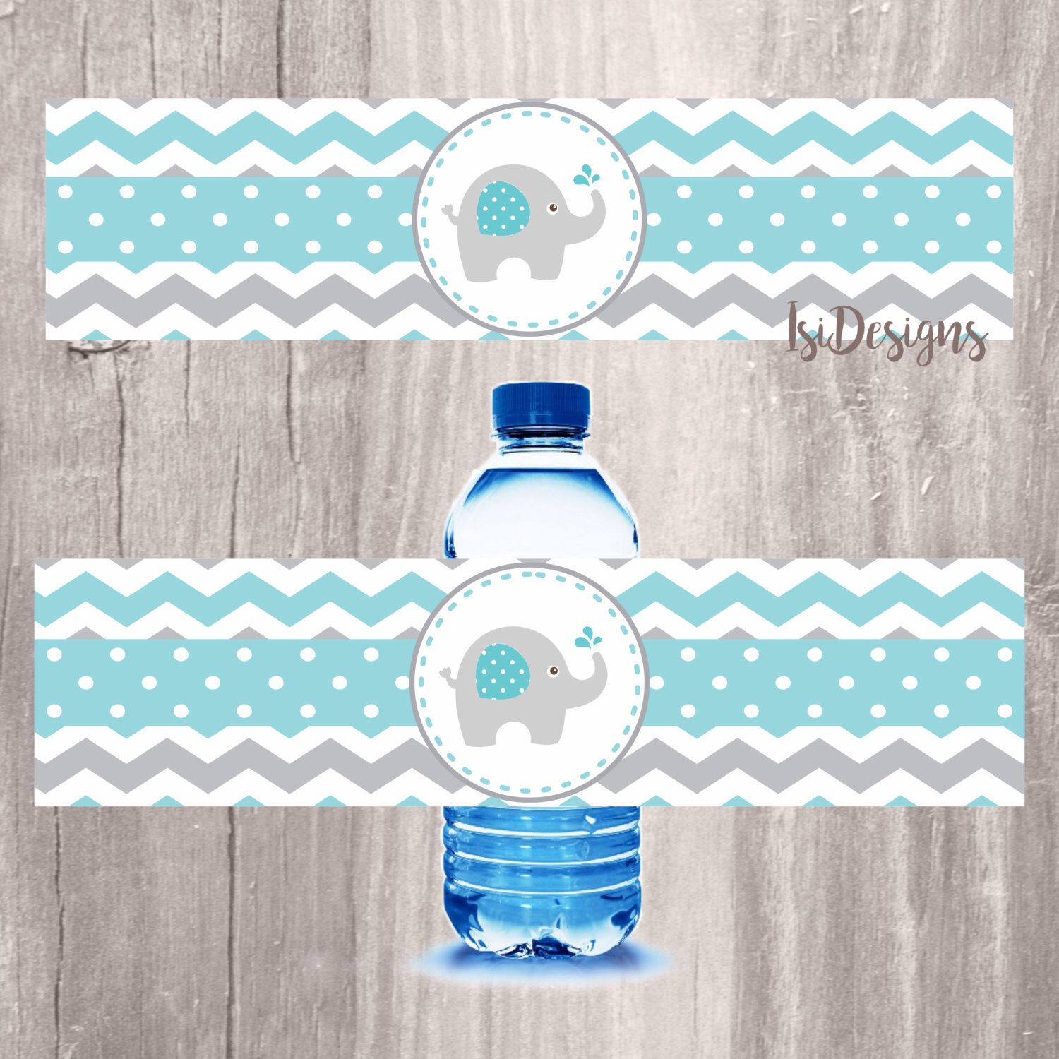 Elephant Water Bottle Label Chevron Teal And Grey