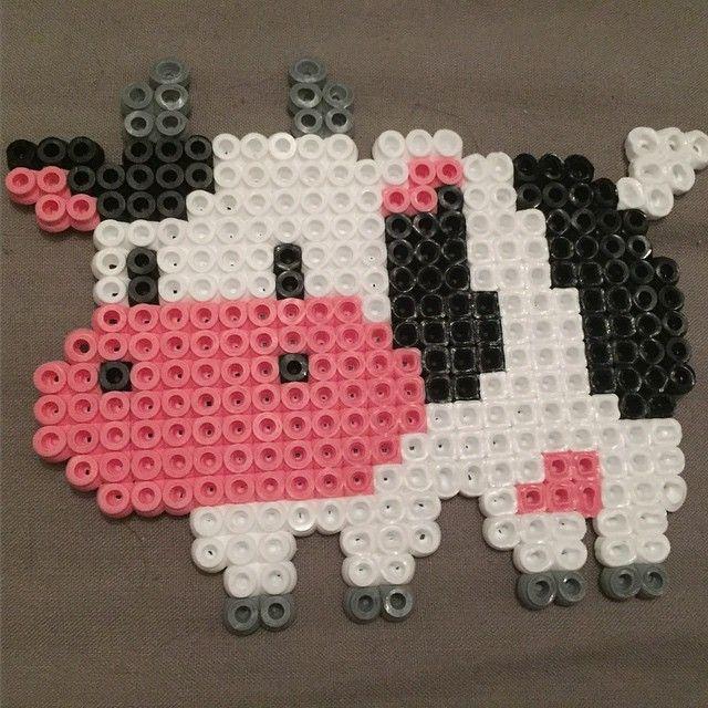 Cow hama beads by beccaog
