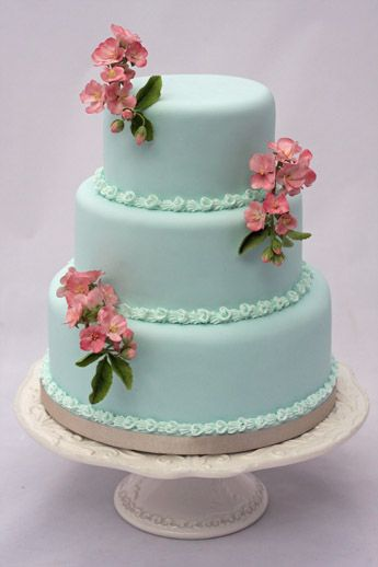 Cherry Blossom & Tiffany Blue. By Bite Me Bakery, UK.