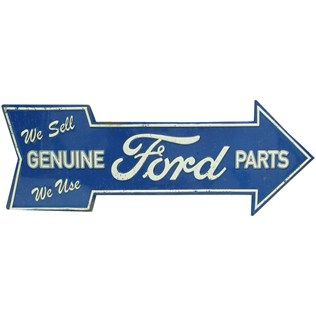 Ford or Chevy Embossed Tin Sign