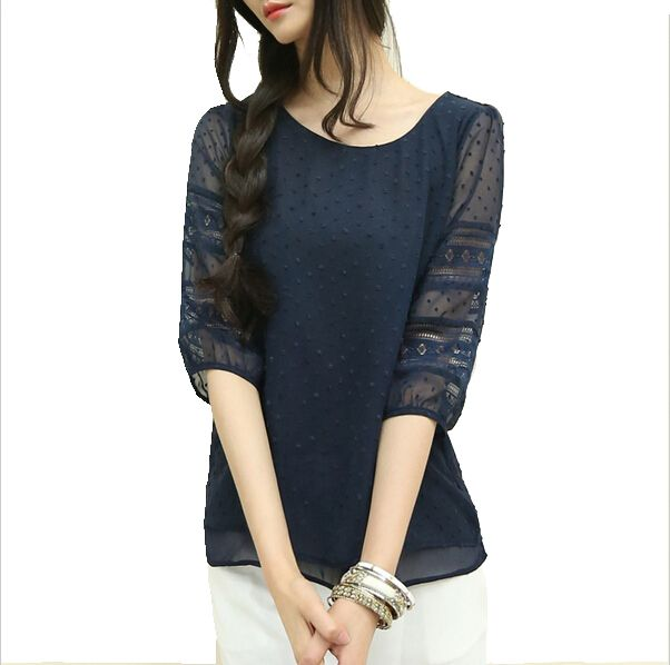 Coréia plus size sheer blusas blusas de manga curta chiffon grande tamanho mulheres roupas de verão das mulheres moda 2015 em Blusas de Roupas e Acessórios no AliExpress.com   Alibaba Group