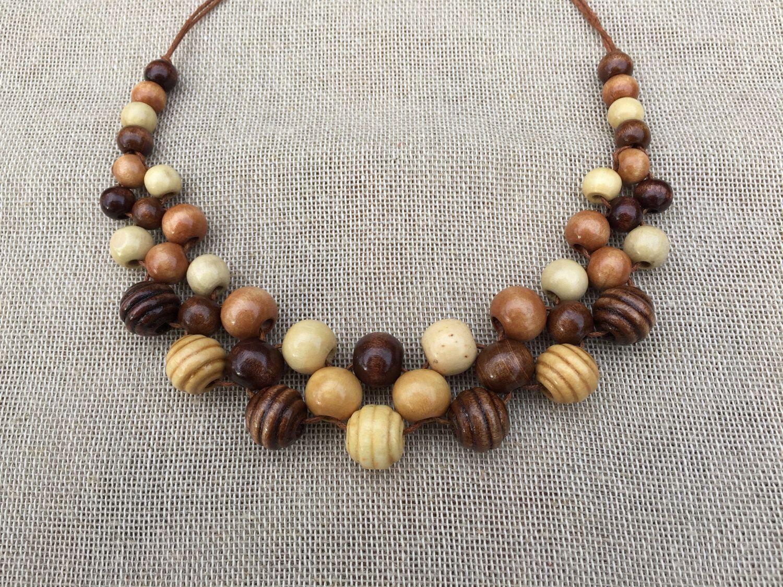 Fashion Jewelry Pendant Chain Resin Wood Beads Collar Statement Bib Necklace Set