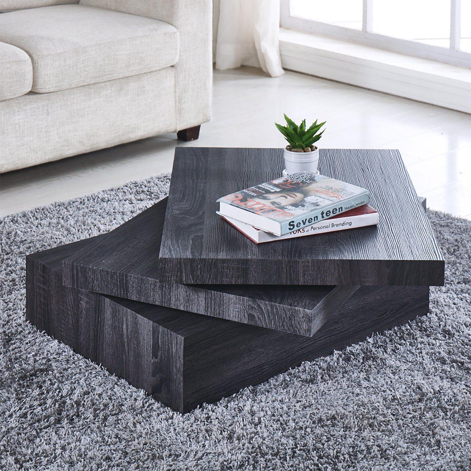 Newretailglobal Black Coffee Table Oak Square Rotating C Contemporary Modern Living Room Furniture Modern Furniture Living Room Modern Contemporary Living Room [ 1600 x 1600 Pixel ]
