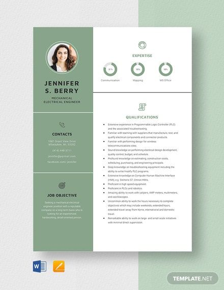 Mechanical Electrical Engineer Resume Template in 2020 ...