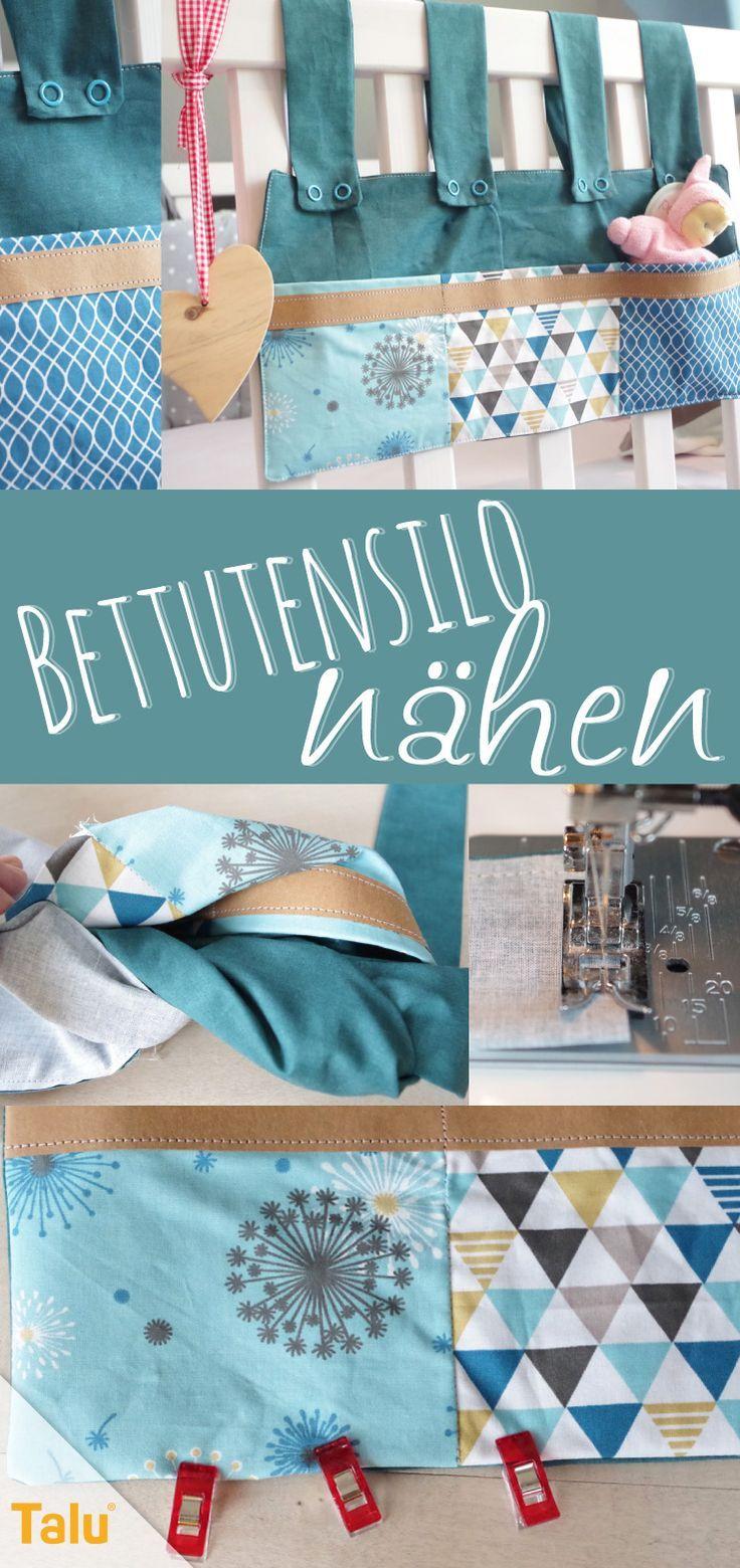 Bettutensilo nähen: kostenlose Anleitung für eine schöne Betttasche - Talu.de #nähenfürsbaby