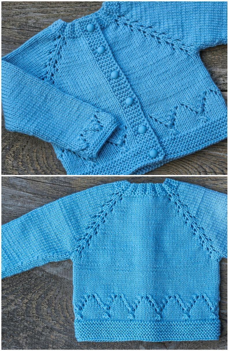 Sky blue baby sweater blue baby cardigan wool baby sweater