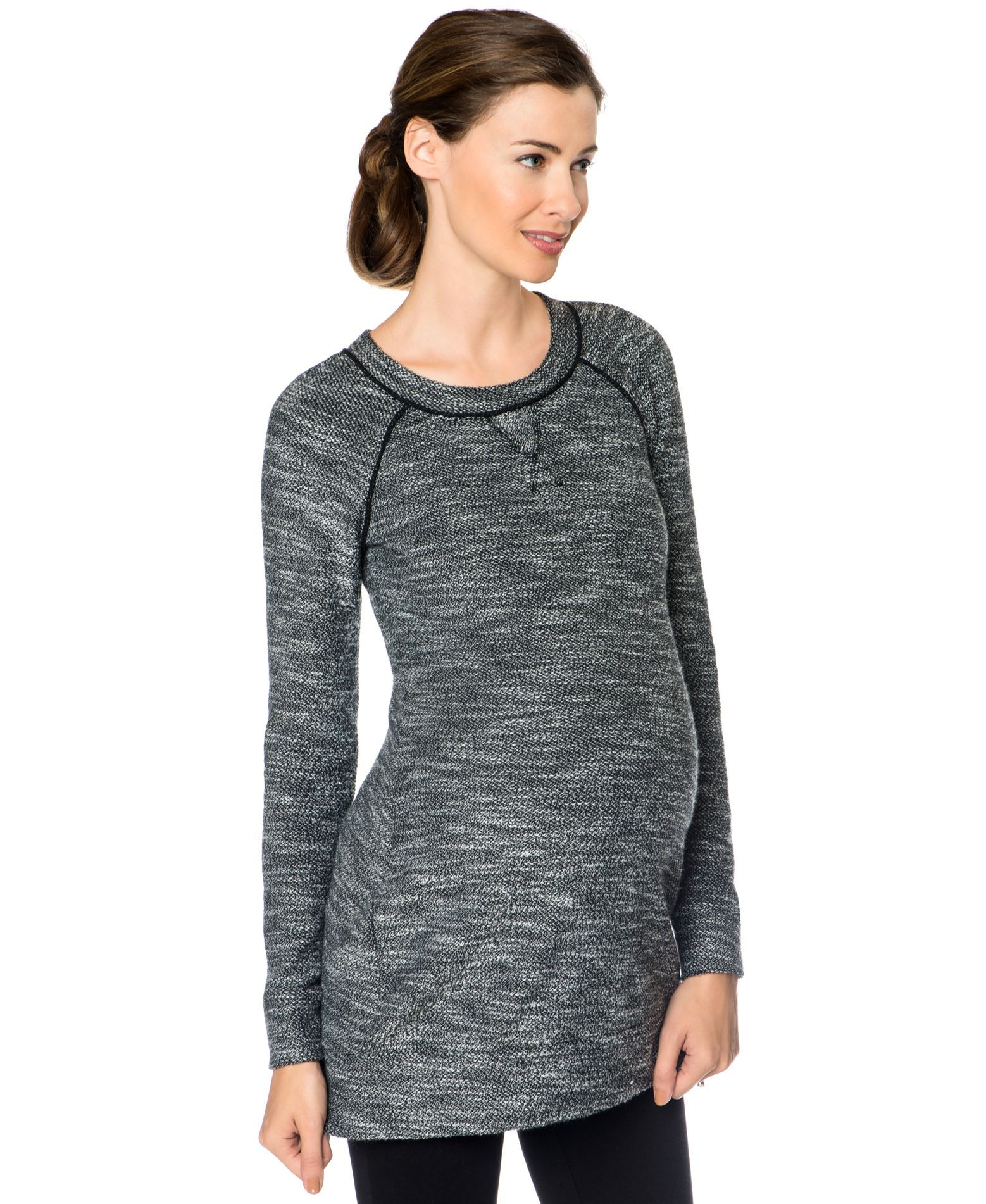 A Pea In The Pod Maternity Back-Zip Marled Tunic Sweater ...