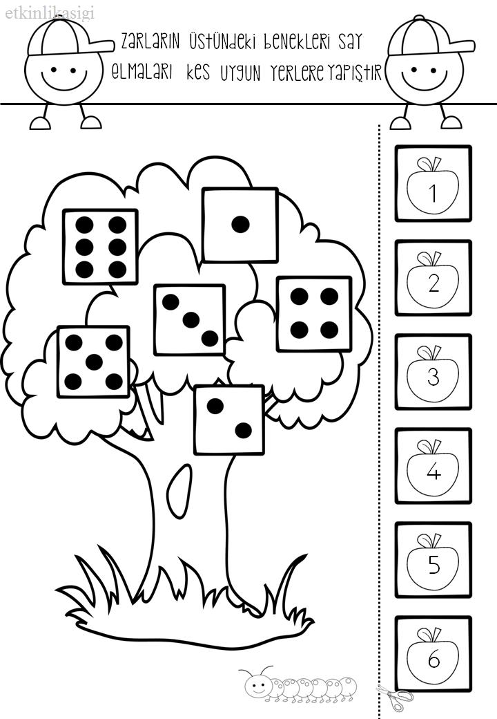 elma ağaç kes yapıştır | μαθηματικα | Pinterest | Números ...