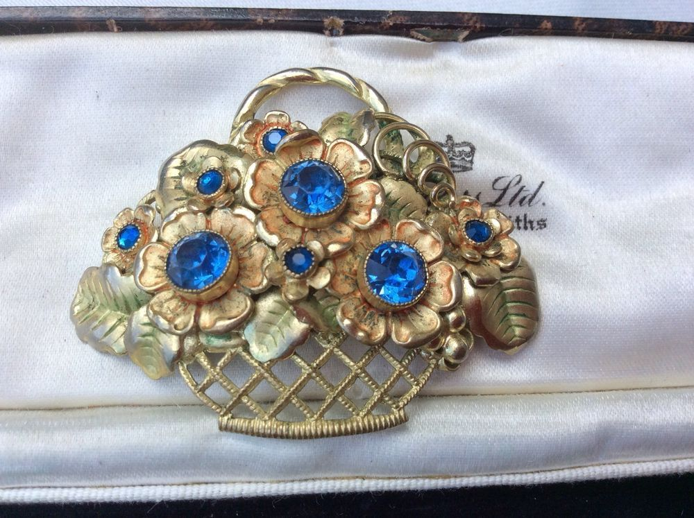 Vintage Czech Filigree Flower Brooch Pin By Neiger Brothers