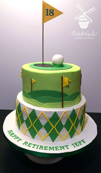 Golf 18th hole retirement cake