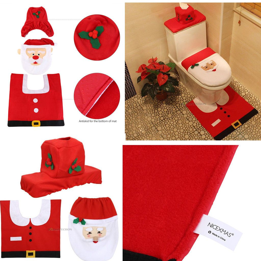 BM Happy Santa Toilet Seat Cover Rug Bathroom Set Decoration