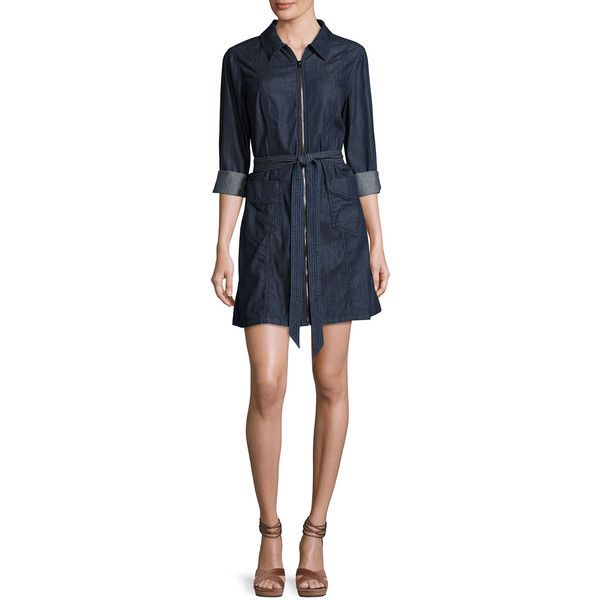 e7be5b155a 7 For All Mankind Zip-Front Belted Denim Dress (200 AUD) ❤ liked on  Polyvore featuring dresses