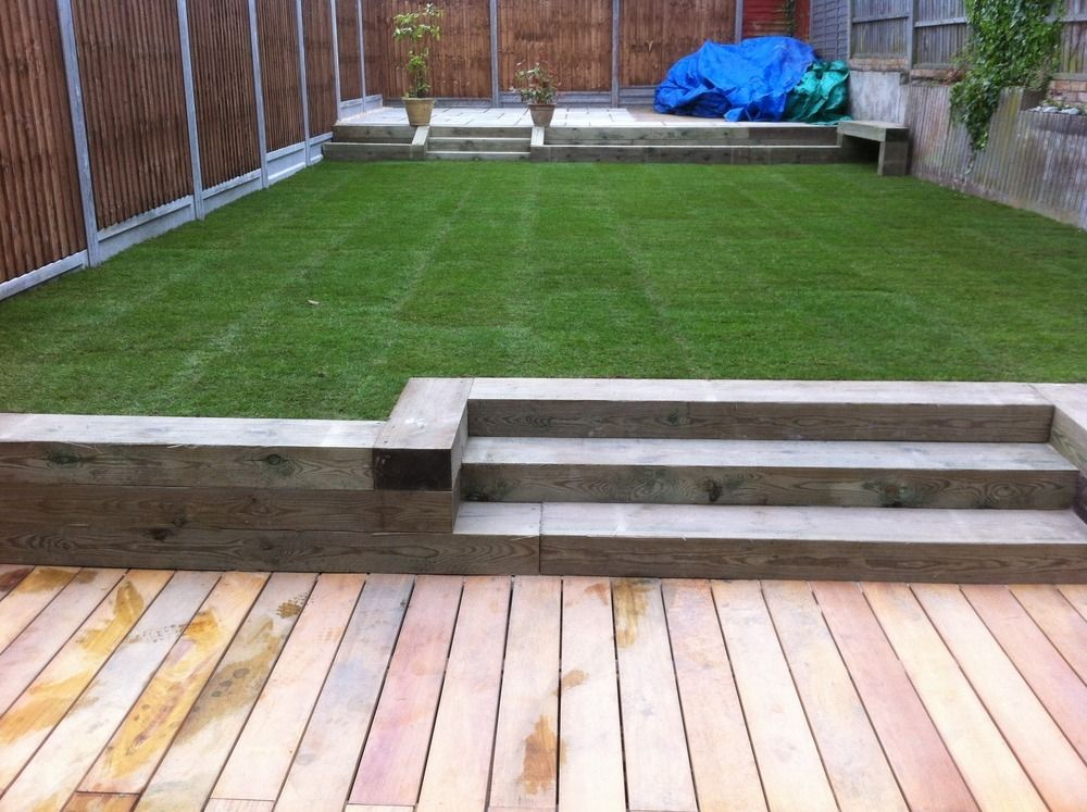 Composite decking with sleeper borders google search for Garden decking borders