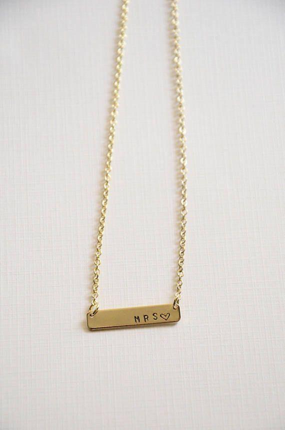 Hand stamped mrs gold bar necklace/ mrs necklace/ gold bar