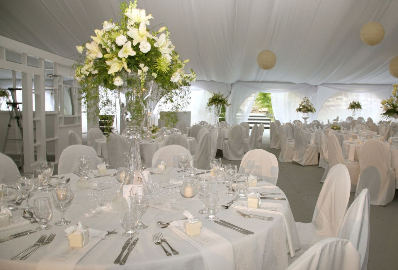 White wedding decor ideas  White Wedding Favors Receptions  wedding hairstyles and makeup