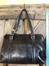 Vintage Fossil Large Black Leather Shoulder Bag Tote Satchel Purse 75082