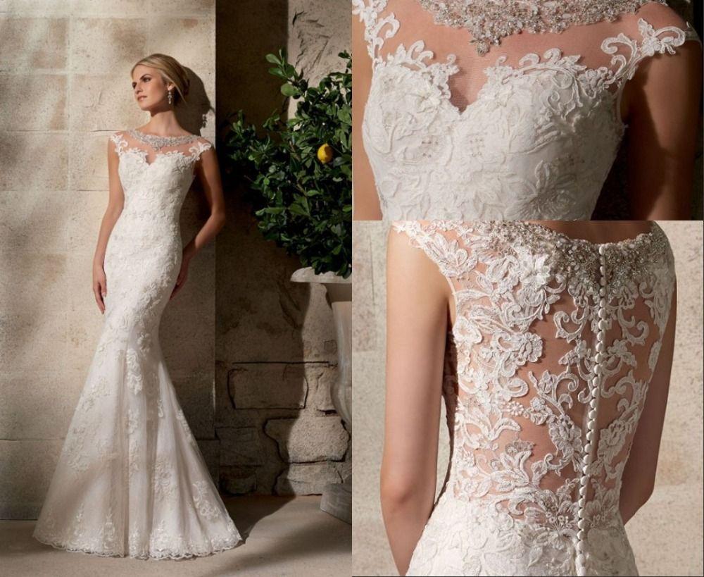 Sirena sexy escote en v tren capilla vestido de novia de for Wedding dresses in delaware