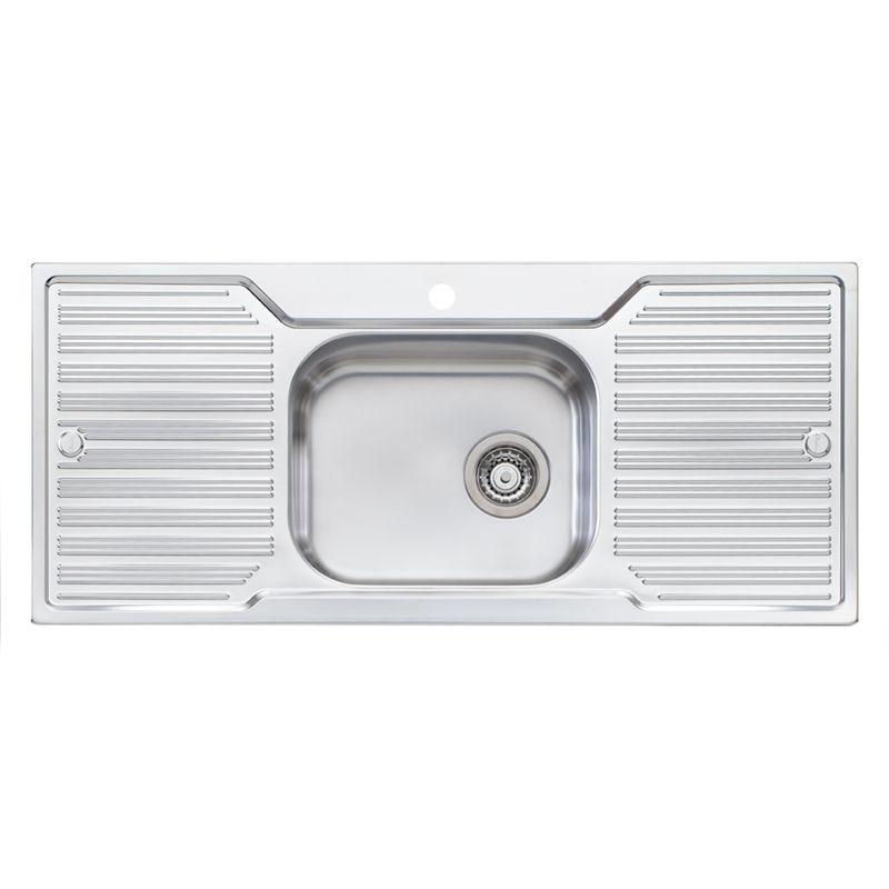 Diaz Single Centre Bowl Inset Sink With Double Drainer I/N 5110303 |  Bunnings Warehouse
