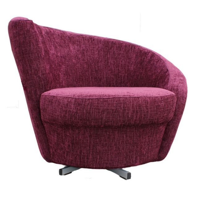 Inexpensive Burgundy Accent Chairs With Spiral Rotating Tub Design And  Swivel Base