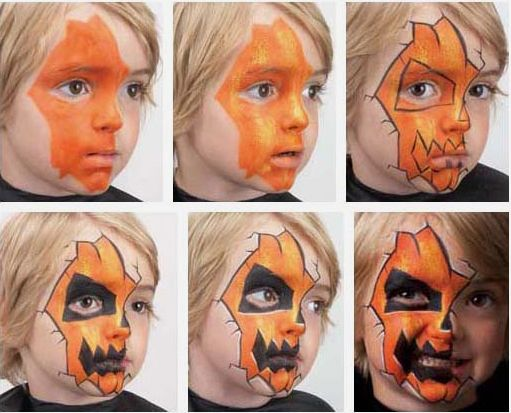 Coolest Jack-o-lantern design I've ever seen! The third pic, without the black, would also be a kind of cool year-round design for a boy, in any color #pumkinpaintideas