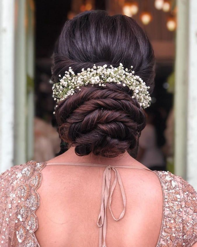 Best Hairstyle For A Wedding Mehndi And Haldi With Floral Bridal Hair Buns Wedding Hairstyles For Long Hair Bridal Hairdo