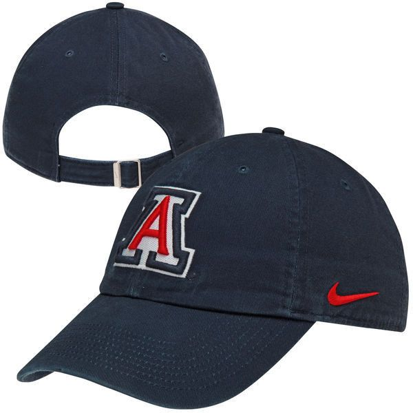 Nike Arizona Wildcats Women's Campus Adjustable Performance Hat - Navy ($24) ❤ liked on Polyvore featuring accessories, hats, navy, embroidered hats, adjustable hats, embroidery hats, navy hat and nike