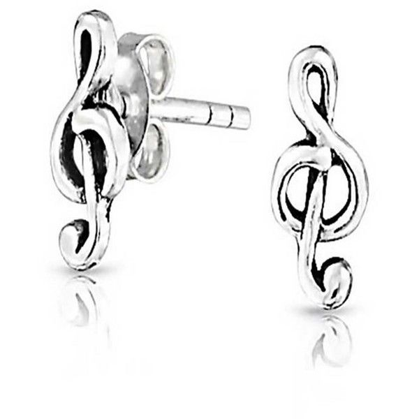 Bling Jewelry Small 925 Sterling Silver Music Note 13 Stud Earringsearring