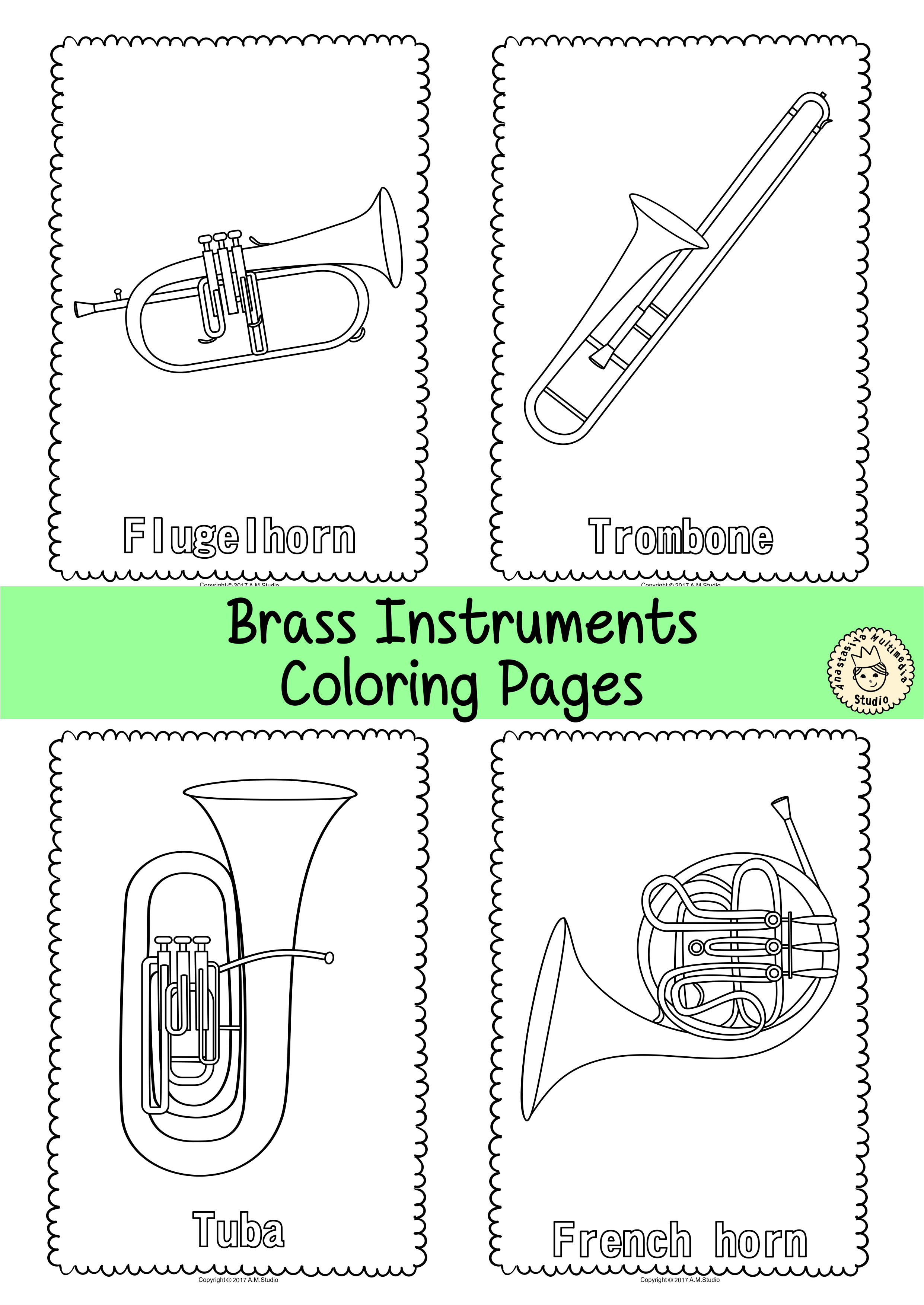 Musical Instruments Coloring Pages | Musical instruments ...