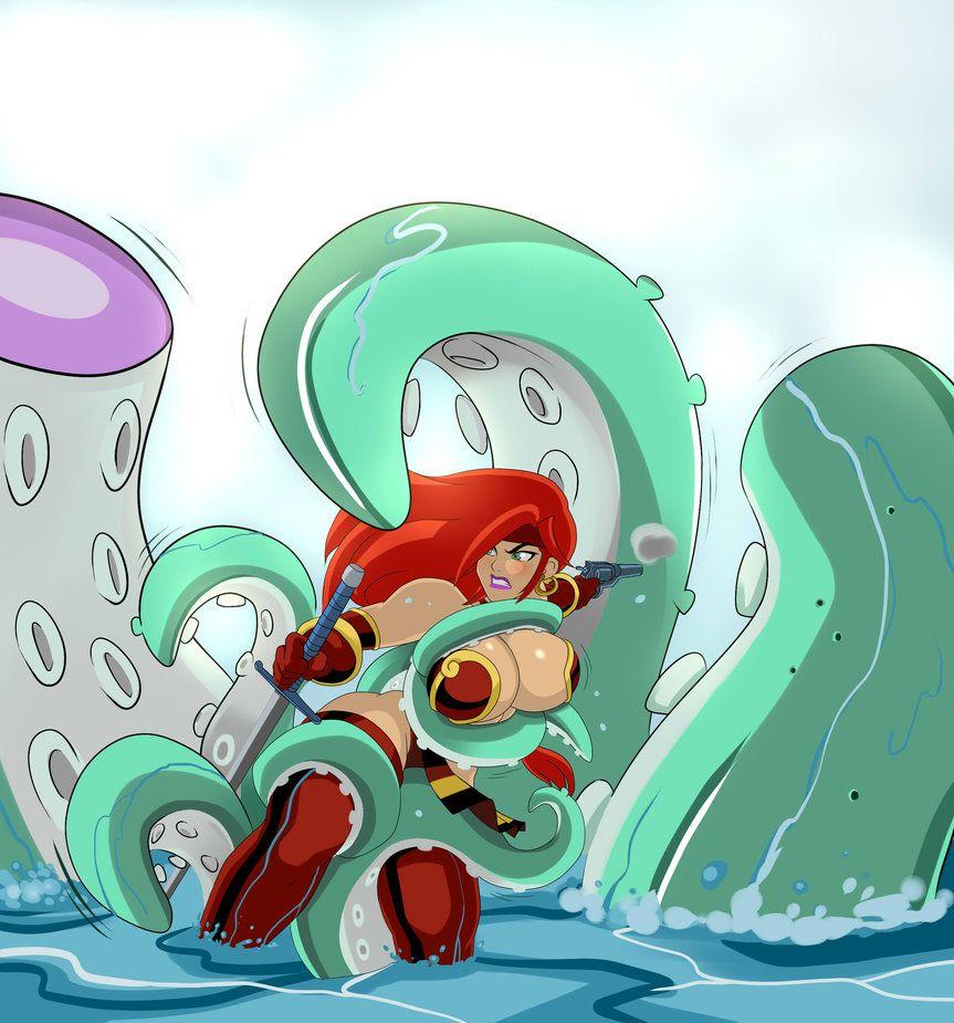 Red Monika Vs Giant Octopus By Zetarok On Deviantart Black Widow Cosplay Octopus Red