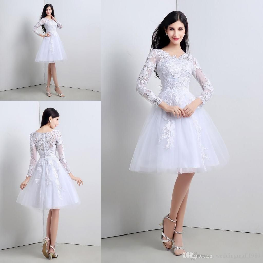 Little white wedding dress   Short Little White Lace  Long Sleeves Wedding Dresses ALine