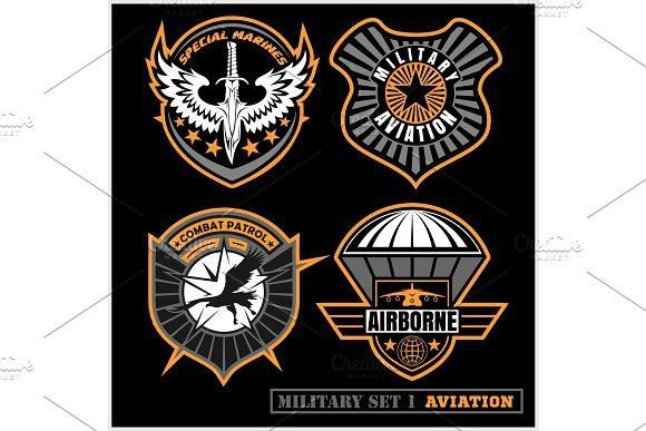 Set of military and army badge and patches typography, for