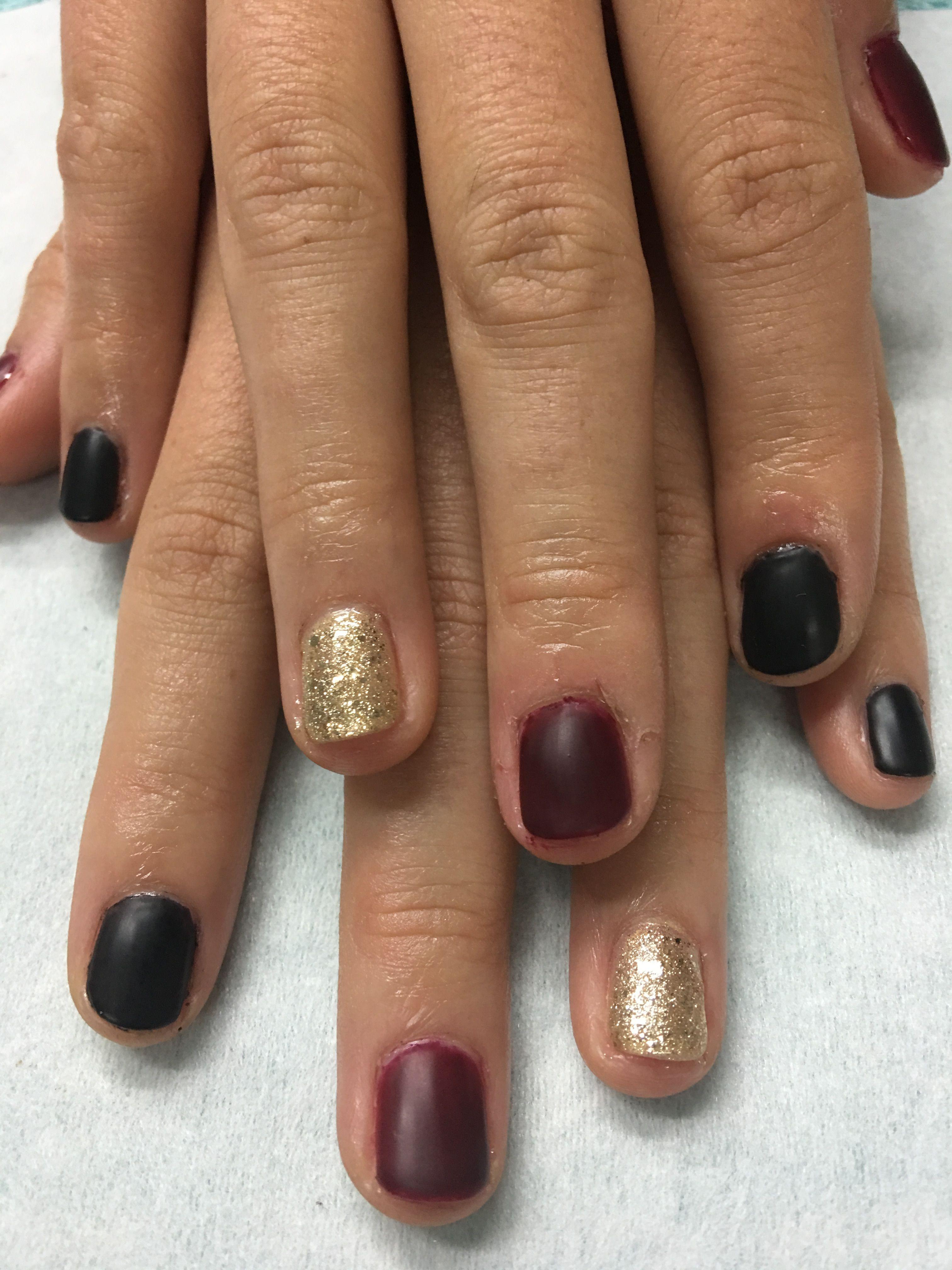 Matte Black Burgundy and Gold Glitter Fall gel nails   Gel Nail ...