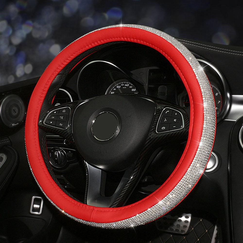 38CM Anti-slip PU Leather Steering Wheel Cover For Car SUV Black Red Universal