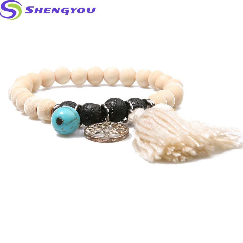 Bead bracelet jewelry simple style natural wood beads bracelet