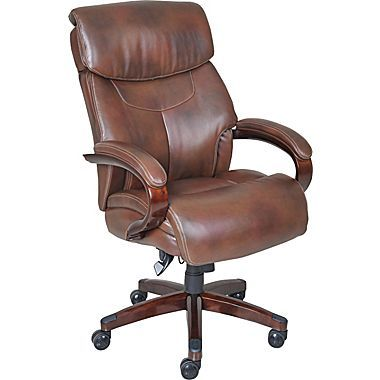 LaZBoy Bradley Bonded Leather Executive Chair Fixed Arms Roast