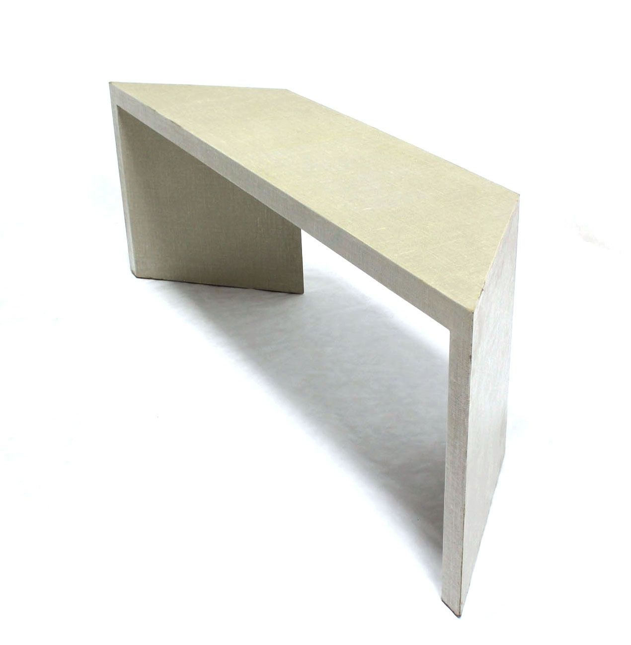 Linen Cloth Mid Century Modern Console Table Of Unusual Shape Image 8