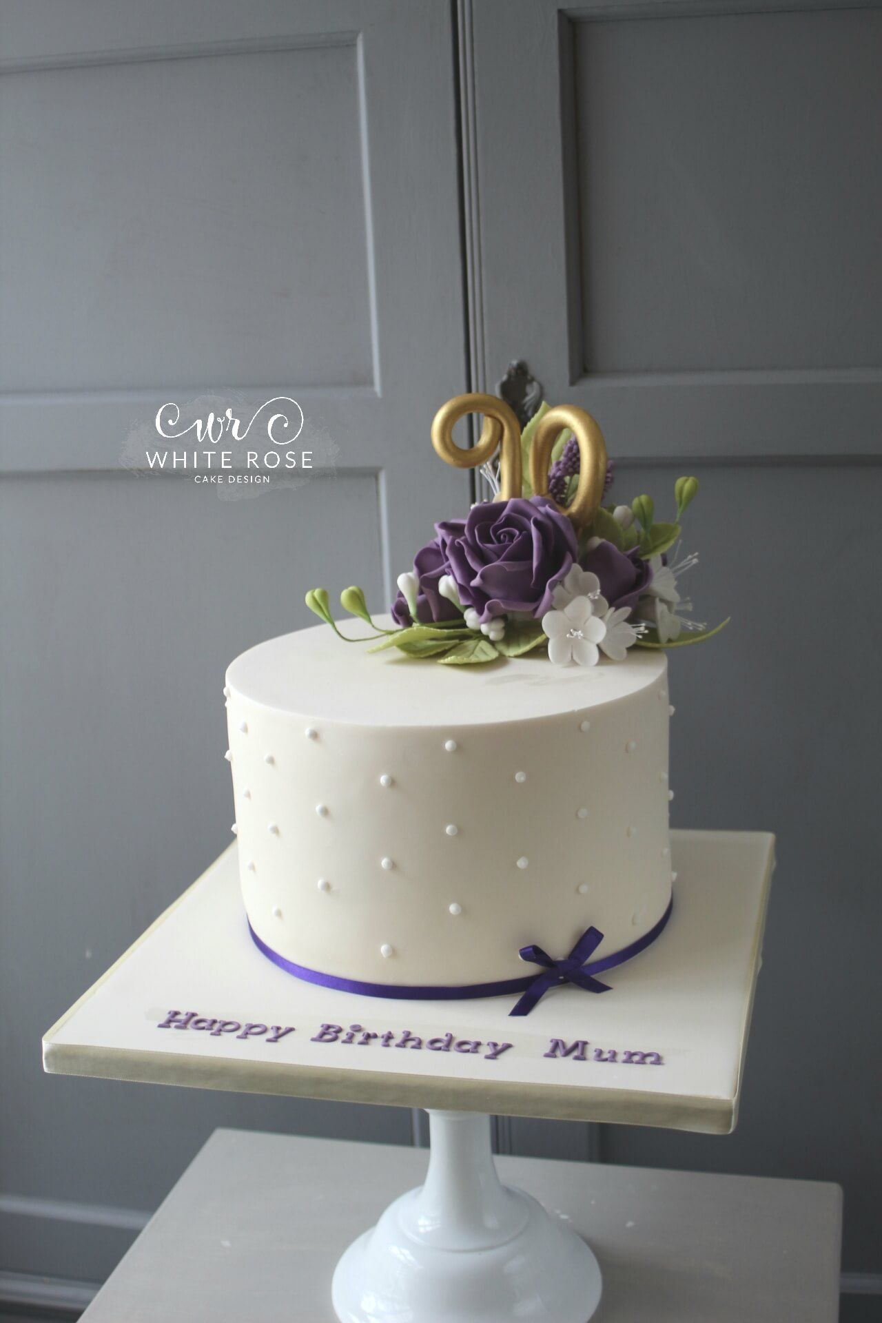 90th Birthday Cake With Purple Flowers By White Rose Cake Design