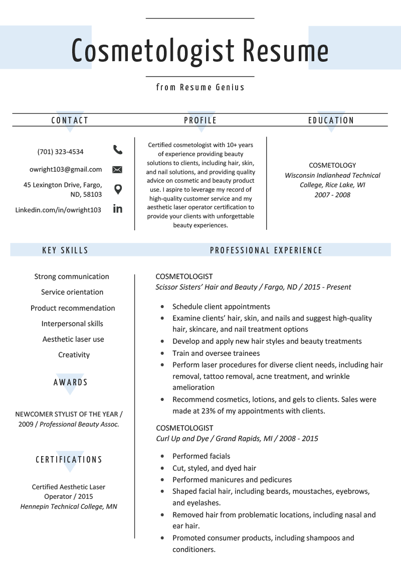 Cosmetologist Resume Sample & Writing Guide Resume