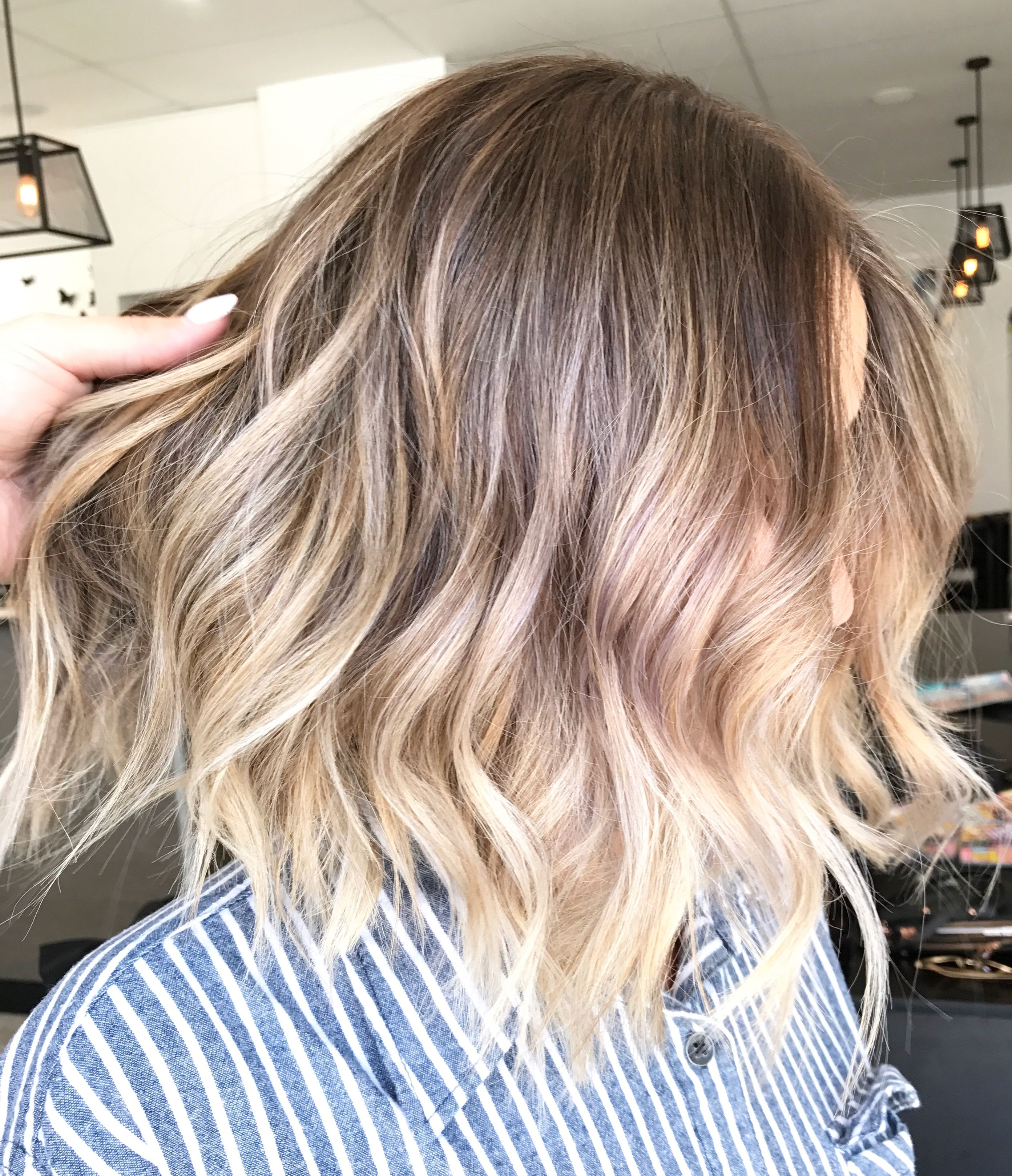 Blonde balayage short lob multidimensional colour Lived in hair
