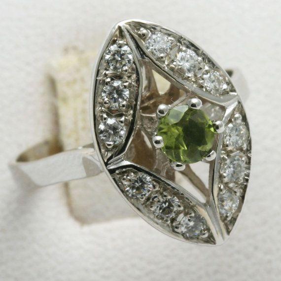 Vintage 14k white gold Diamond & green by DaniellesCollection, $384.99
