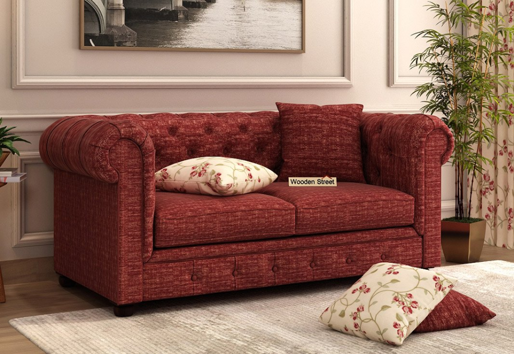 Buy Henry 2 Seater Sofa Fabric Red Siberia Online In India Get Wooden Henry 2 Seater Sofa Fabric Red Siberia Wooden Sofa Set Fabric Sofa Sofa Set Online