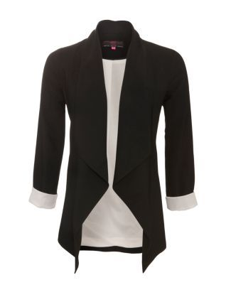 d2fa14f1d Black (Black) Black Longline Waterfall Blazer | 268925001 | New Look ...