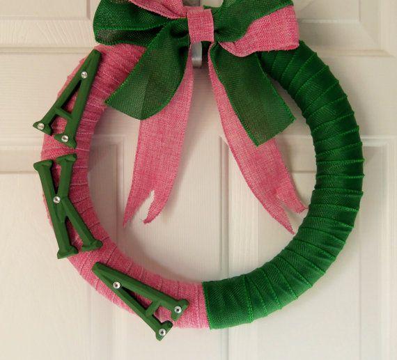 Pink and Green Alpha Kappa Alpha Sorority Wreath AKA by TrulyLoni