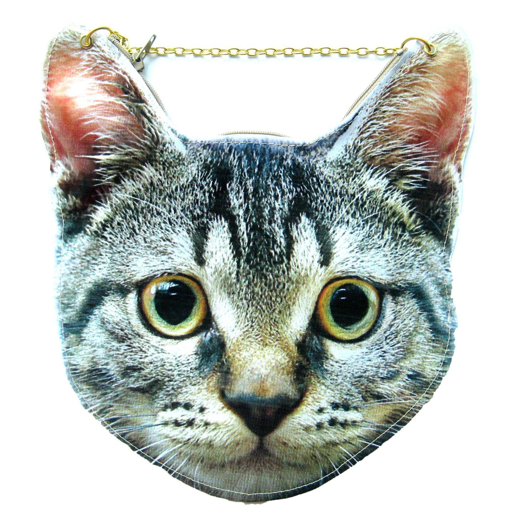 Grey Tabby Kitty Cat Head Shaped Vinyl Animal Themed Cross Shoulder Bag