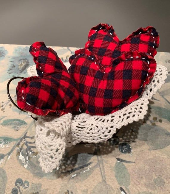 Farmhouse style fabric hearts red buffalo plaid hearts | Etsy