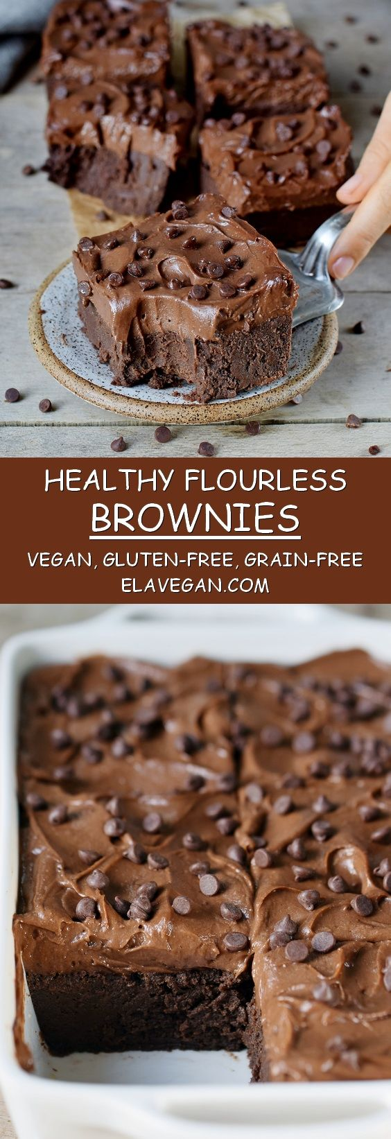 These flourless brownies with a sweet potato frosting are absolutely delectable. They are vegan, gluten-free, oil-free, grain-free, protein-rich, fudgy, chocolatey, and so rich! Made with chickpeas and other wholesome ingredients! #vegan #glutenfree #grainfree #chocolate #brownies #flourless #veganbrownies | elavegan.com #desertlife